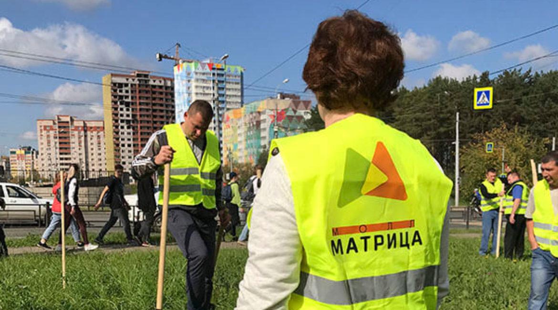 Посадка деревьев у МОЛЛ Матрица, 13 сентября 2019г